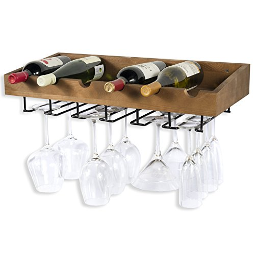 ArtifactDesign Wall Mounted Wood Wine Rack for Bottles with Stemware Glass Storage (1, Walnut Stained) (Stemware Wood Mount Wall)