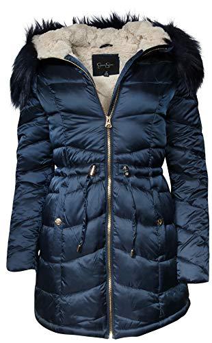 Jessica Simpson Women Satin Puffer Bubble Jacket with Full Fur Lining, Indigo, Small'