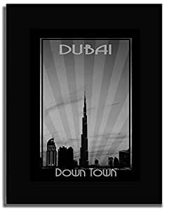 Dubai Skyline Down Town - Black And White F04-nm (a5) - Framed
