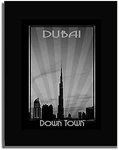 Dubai Skyline Down Town - Black And White F04-m (a2) - Framed