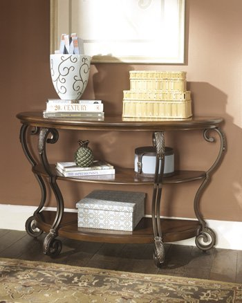 Traditional Metal Sofa (Traditional Medium Brown Finish Sofa Table)