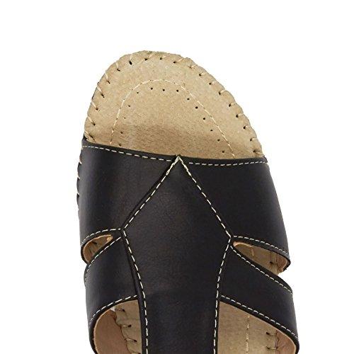 Nueva mujer baja cuña correa de tobillo sandalias Toe comodidad señoras verano playa Reino Unido tamaño 3–8 negro