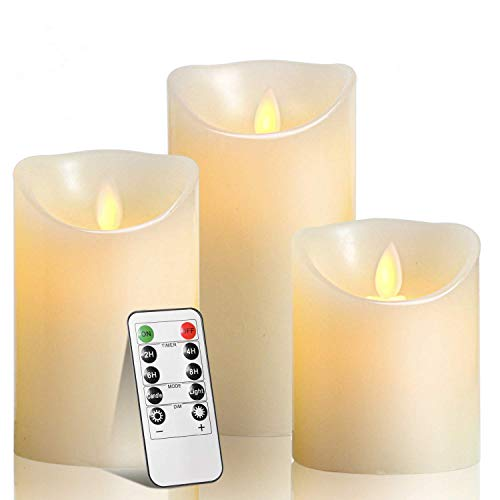 TEECOO Flameless Candles Battery Operated Pillar Real Wax Flickering Moving Wick Electric LED Candle Sets with10-Key Remote Control Cycling 24 Hours Timer, (Ivory)