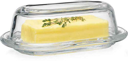 Glass Butter Dish - Glass Clear Butter Dish with Lid - Classic 2-Piece Design Butter Keeper | Covers and Holds a Standard Stick of Butter Dimensions | 8
