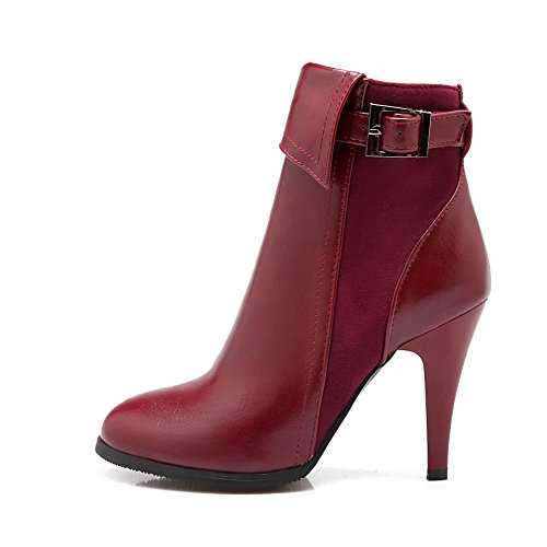 1TO9 Womens Boots Low-Top Zip Ankle-Wrap High-Heels Water_Resistant Rubber Warm Lining Solid Manmade Smooth Leather Ankle-Cuff Bootie Urethane Boots MNS02100 Red OmhgWI