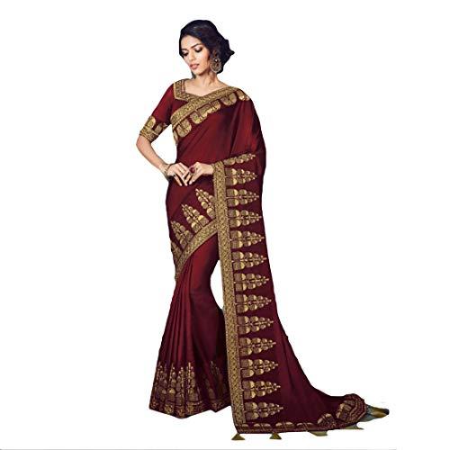 DesiButik's Party Wear Graceful Maroon Fancy Fabric Saree