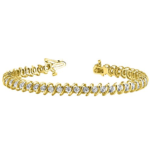 - 3 Carat S Link Diamond Tennis Bracelet 14K Yellow Gold Value Collection