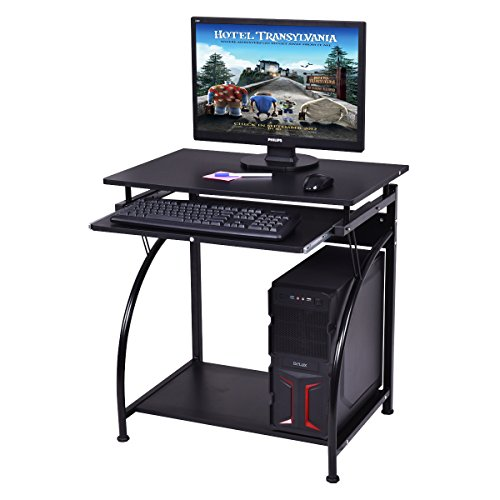 Tangkula Computer Desk Wood Home Office Pull Out Keyboard Tray Small Places PC Workstation Office Furniture (Black Without Wheel) ()