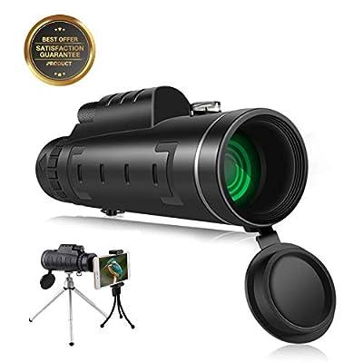 SGODDE 12X50 Monocular Telescopes,Optics High Powered Monocular Scope with Retractable Eyepiece and Multi Coated Optical Glass Lens,BAK4 Prism Lens Outdoors