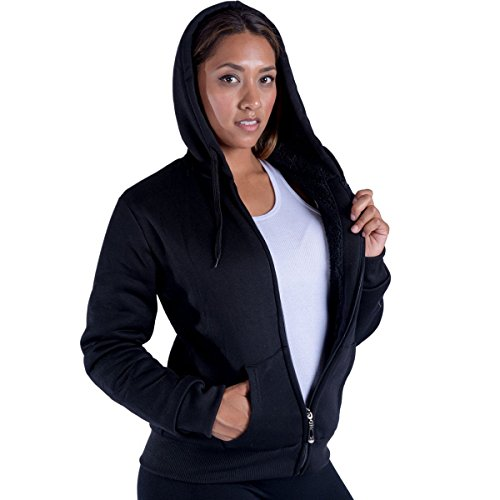 Women's Full Zip Soft Sherpa-Lined Fleece Hoodie Black Large (Sweatshirt Sherpa Drawstring)