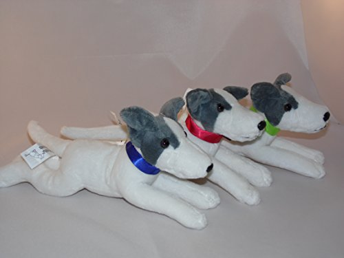Collection of 3 Greyhounds Wearing Blue, Red, Green Collars (Greyhound Stuffed Animal)