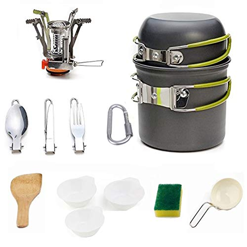 Cooking Tool Sets - Camping Cooker Pot Cook Set Removable Cutlery Tank Mount Ultralight Outdoor Cookware - Sets Tool Cooking Cooking Tool Sets Outdoor Camp Cook Sport Backpack Cooker Mini K ()
