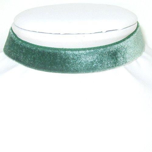 Grünes Samt 15mm Kropfband Choker 30cm lang von der Münchner Glitzerwelt