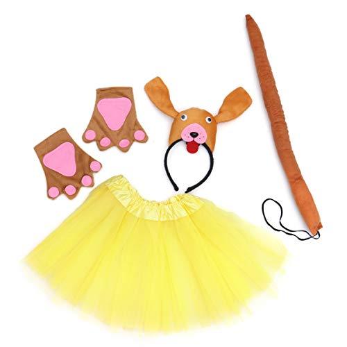 BESTOYARD Girl Fairy Princess Costume Set Kids Performance Stage Costume Set Tutu Skirt Dog Headband Paw Gloves Wand (Yellow) ()
