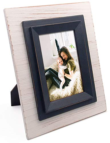 - 4x6 Rustic White & Black Picture Frame,Distressed Wood with Glass Front, Vertical Horizontal Display on Table Desk-top or Wall