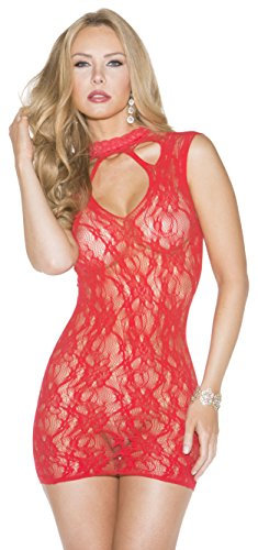 Stretch Lace Chemise, One Size, Red (Shirley Of Hollywood Stretch Bodysuit)