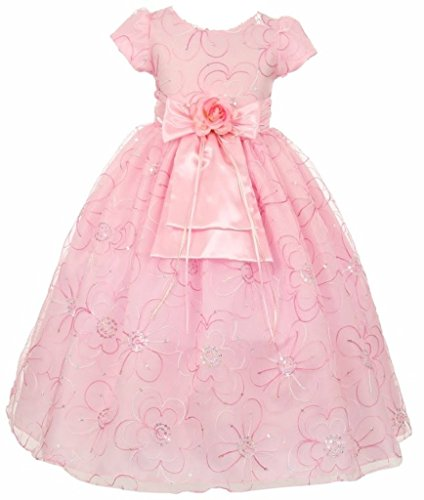 AkiDress Sequin Embroidered Organza Flower Girl Dress for Big Girl Pink 10