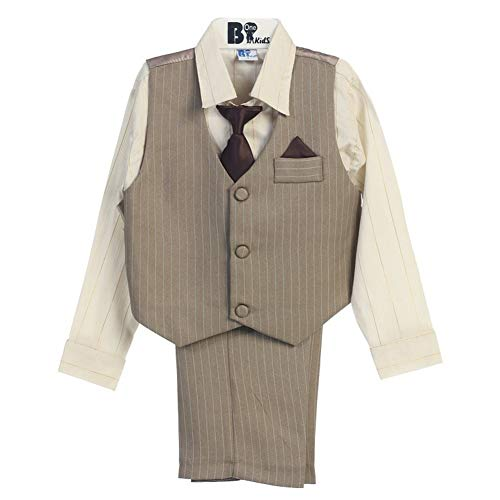 B-One Four Piece Gold Striped Ivory Shirt Striped Khaki Baby Boys Vest Set 9-12M