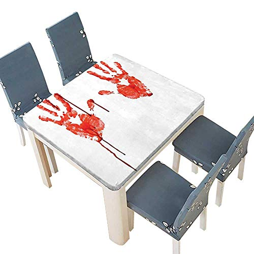 PINAFORE Tablecloth Waterproof Polyester Table Like Wanting Help Halloween Horror Scary Spooky Flowing Blood Themed Print Red White Tablecloth Wedding/Party 41 x 41 INCH (Elastic -