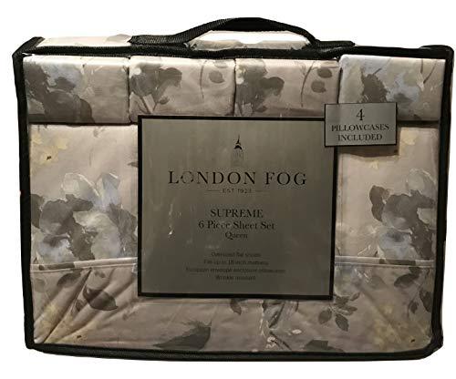 London Fog Floral Grey Blue Pattern Queen Sheet Set