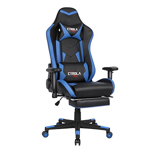 Cyrola Large Size Real PU Leather High Back Comfortable Gaming Chair with Footrest PC Racing Chair with Lumbar Support Headrest Ergonomic Design (Blue/Black)