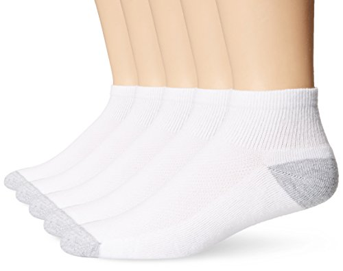 Hanes Ultimate Men's 5-Pack FreshIQ X-Temp Ankle Socks, White, Sock Size:10-13/Shoe Size: 6-12 ()