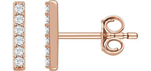 Diamond Vertical Bar Earrings (Diamond Vertical Bar Earrings, 14k Rose Gold (1/10 Ctw, Color H+, Clarity I1))