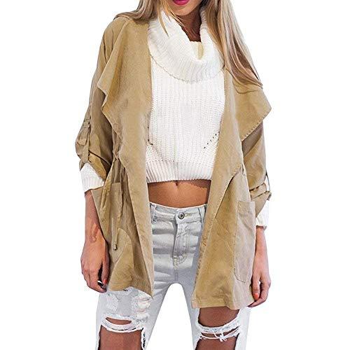 Giacca Lunga Donne cn Cappotto Cardigan Outwear Greenxl Eu Dimensione Cappotti Caldo xl Vento 42 Cappuccio A Con Trasparente Khakixl Sottile Manica Colore Inverno Tasche AwP0qx