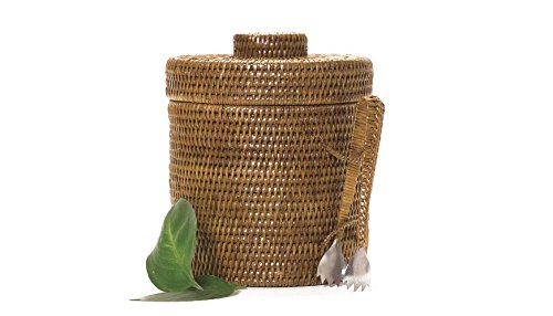 Artifacts Trading Company Rattan Small Ice Bucket with Tongs, 9'' Diameter, 9'' L x 9'' W x 9'' H