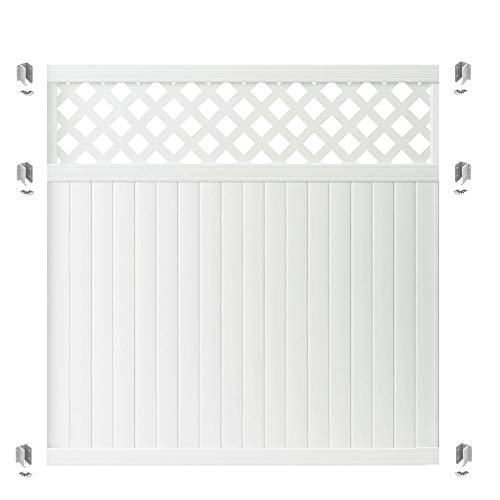 Outdoor Essentials PicketLock Olympia White Vinyl Lattice Top Privacy Fence Panel Plus Brackets, 6 ft. x 6 ft.
