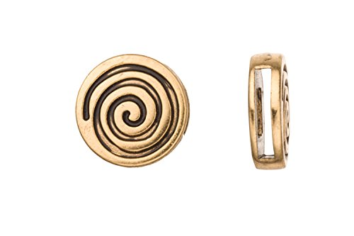 4Pcs Eternal Spiral Licorice Charms Fits Flat 10x2mm Licorice Leather Cord Antique Gold Finished 18Xmm