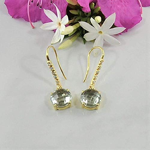 SIVALYA Green Amethyst Earrings in 925 Sterling Silver with Gold Vermeil - Luxurious Gift Packaging Included - Great Gift for Women