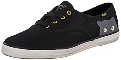 Keds Women's Taylor Swift Sneaky Cat Fashion Sneaker, Black, 5 M US