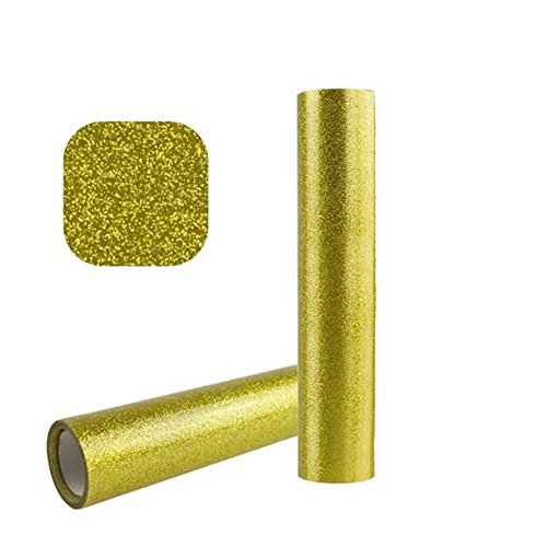 Iron on Heat Transfer Vinyl Roll, Glitter HTV for T-Shirts 10 Pack 10''x 40'' (Gold) by ROY ROJAS