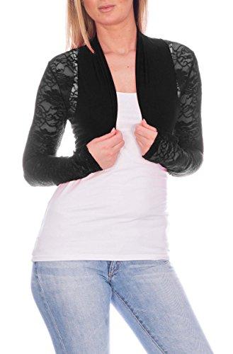 Chaqueta bolero de mujer elegante con puntilla, ocio, fiesta chaqueta de algodón negro