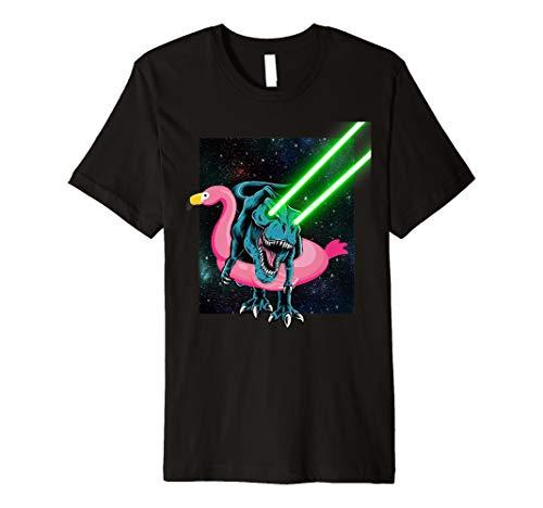 Laser Eye T-Rex in Flamingo Float | Funny Galaxy T-Rex Premium T-Shirt