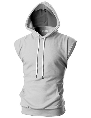 Ohoo Mens Slim Fit Sleeveless Lightweight Tank Tops with Hoodie /DCF014-GREY-M - Top Hooded