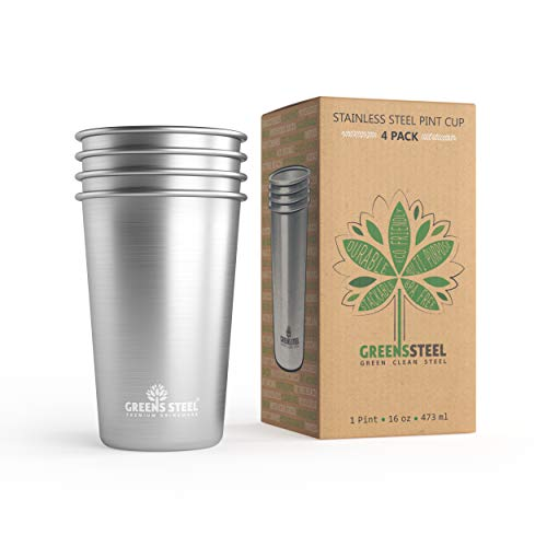 #1 Premium Stainless Steel Cups 16oz Pint Cup Tumbler (4 Pack) By Greens Steel - Premium Metal Cups - Stackable Durable Cup ()