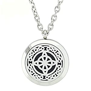 JOYMIAO Essential Oil Diffuser Stainless Steel Necklace with Magnetic Locket Pendant Jewelry 8 Pads
