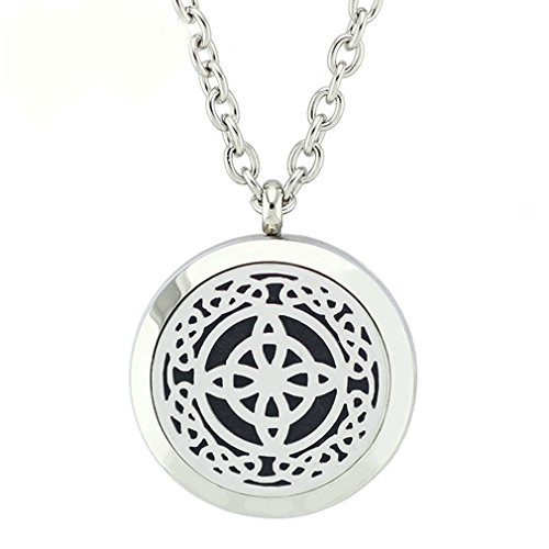JOYMIAO Essential Oil Diffuser Necklace Stainless Steel Cross Locket Perfume Pendant 24' Chain 8 Pads