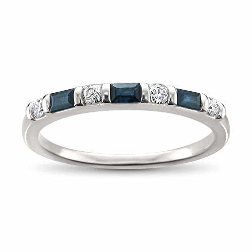 14k White Gold Diamond Round Ring - 14k White Gold Round Diamond & Baguette Blue Sapphire Bridal Wedding Band Ring (1/3 cttw, H-I, I2-I3), Size 8