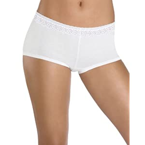 Hanes Women's 3 Pack Comfortsoft Cotton Stretch Boy Brief with Lace Panty, Assorted, 7