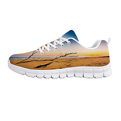 YOLIYANA Driftwood Decor Fashion Gym ShoesWashed Up Driftwood on The Sandy Shore at Sunrise Digital Sneakers for Girls Womens,US 9
