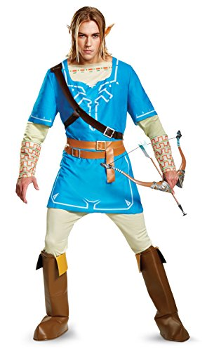 Disguise Men's Plus Size Link Breath of The Wild Deluxe Adult Costume, Blue, - Cosplay Video Character Game