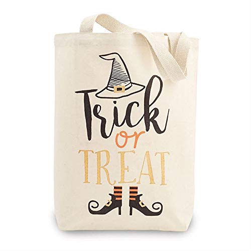 Mudd Pie Trick or Treat Witch Themed Halloween Canvas Tote Bag