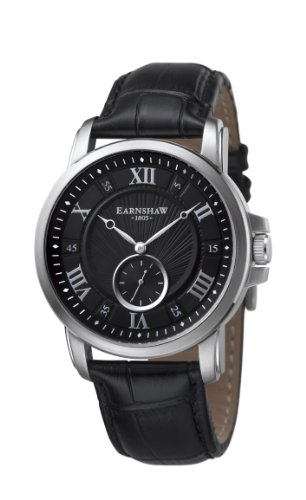 Thomas Earnshaw Men's 'FITZROY' Quartz Stainless Steel and Leather Casual Watch, Color:Black (Model: ES-8021-01)