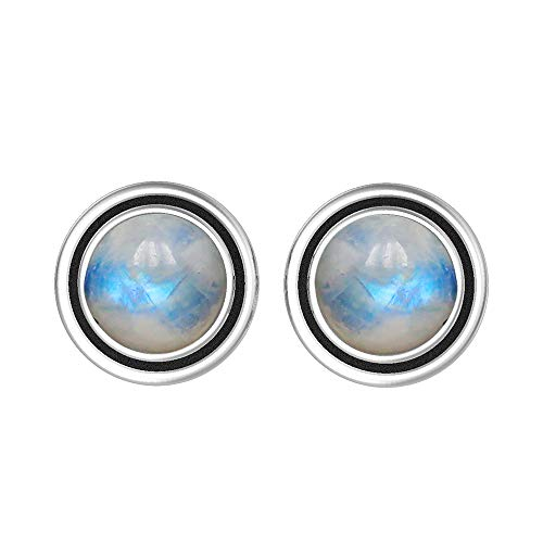 Natural 7mm Round Shape Rainbow Moonstone Stud Earrings 925 Silver Plated Handmade Stud Earrings Jewelry For Women Girls