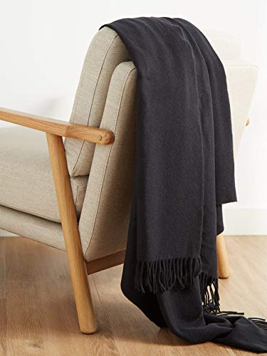 Cashmere Design Made in Italy Classic Solid Black Cashmere Fringed Throw Blanket 56 x 72
