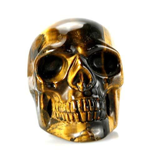 (Yuanxi Skull Collectible Figurine Healing Crystal Stone Human Reiki Skull Figurine Statue Sculptures (0.2lb) (Tiger's Eye))
