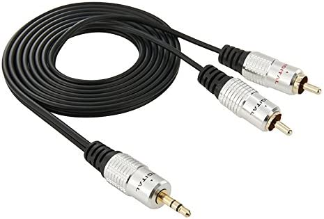 KMLP RCAケーブルアダプター 3.5mmジャックステレオ、RCAオーディオケーブル2本、長さ:1.5m